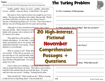 20 November Reading Comprehension Passages: Thanksgiving Reading Comprehension