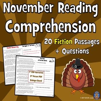 November Reading Comprehension: Thanksgiving Reading Comprehension
