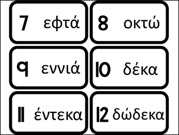 20 Numbers in Greek Flashcards. Foreign Language Bible Studies.