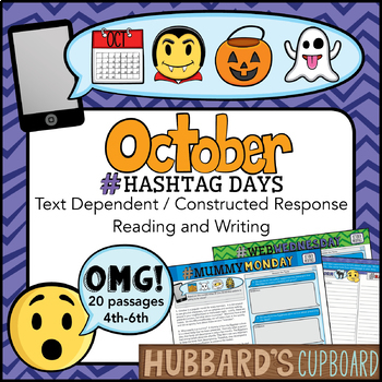 20 October Passages – Google Classroom - Constructed Response – Emojis - Hastags