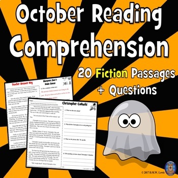 20 October Reading Comprehension Passages: Halloween Reading Comprehension