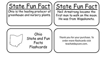 20 Ohio State Fact Flashcards. 1st Grade-7th Grade