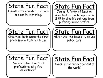 20 Ohio State Fact Flashcards. 1st Grade-7th Grade