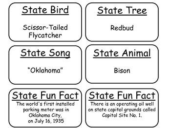 20 Oklahoma State Fact Flashcards. 1st Grade-7th Grade