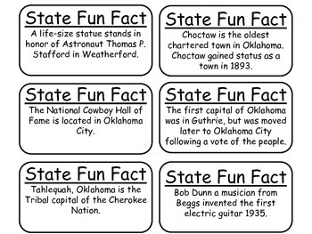 20 Oklahoma State Fact Flashcards. 1st Grade-7th Grade