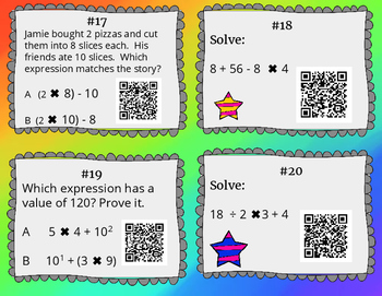 20 Order of Operation Task Cards With QR Codes & Work