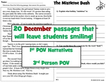 20 December Reading Comprehension Passages: Holiday Reading Comprehension
