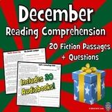 December Reading Comprehension - 20 Fun Passages - AUDIOBOOKS w/ Sounds