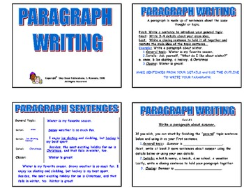 20 PARAGRAPH WRITING TASK CARDS with graphic organizers  Grades 2-3