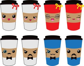 20 PNG Files- Kawaii Coffee Cups Clipart - Digital Clip Art (133)