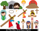 20 PNG Files- Parts of Way of the Cross and The Resurrection Clipart Set 2- 131