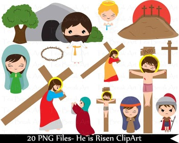 20 PNG Files- Parts of Way of the Cross and The Resurrecti