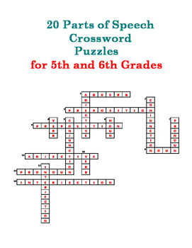 20 Parts of Speech Crossword Puzzles for 5th and 6th Grades
