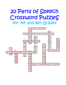 20 Parts of Speech Crossword Puzzles for 7th and 8th Grades