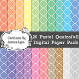 20 Pastel Quatrefoil 12 x 12 Digital Paper Pack