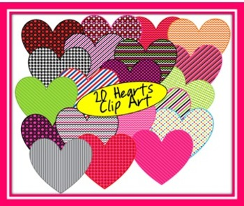 20 Patterned Hearts Clip Art {Great for Valentine's Day}