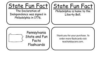 20 Pennsylvania State Fact Flashcards. 1st Grade-7th Grade