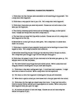 20 Personal Narrative Writing Prompts