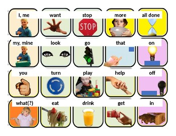 20 Photo AAC Core Vocabulary Board with PRC Words