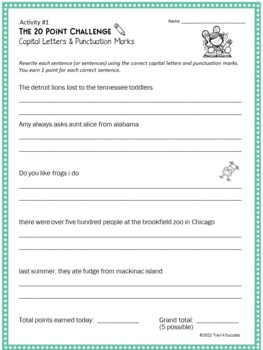 Punctuation Capitalization Writing Activity - 20 Point Challenge
