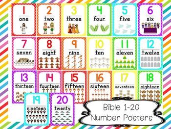 20 Printable Bible Number Posters. Preschool-Kindergarten Numbers and Math.