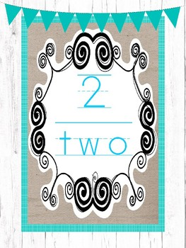 20 Printable Farmhouse and Teal Numbers Posters. Classroom Accessories.