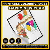 20 Printable HAPPY NEW YEAR Coloring Pages