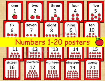 picture relating to Numbers 1 20 Printable named 20 Printable Figures Posters. Delighted Apple Quantities 1-20. Wall Charts Clroom