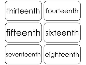 20 Printable Ordinal Word Flashcards. Positional Math Words.