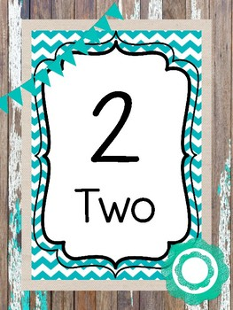 20 Printable Rustic and Teal Numbers Posters. Classroom Accessories.