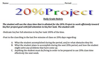 20% Project Explanation AND Rubrics Project Based Learning