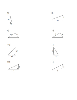 20 Pythagorean Practice Problems, Missing Hypotenuse