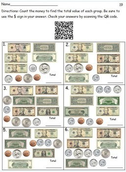 20 QR Code Money Worksheets - Coins - Bills-  Bills and Coins - No Prep