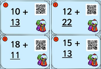20 QR Two-digit Addition to 99 Cards - No Regrouping