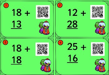 20 QR Two-digit Addition to 99 Cards - With Regrouping