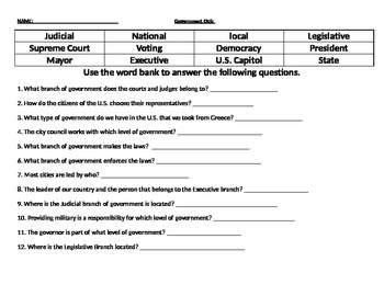 20 Question Government Test/Quiz