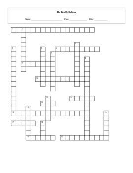 20 Question Harry Potter Deathly Hallows Crossword with Key