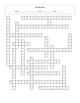 20 Question Harry Potter Goblet of Fire Crossword with Key