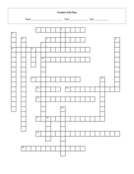 20 Question Life: Creatures of the Deep Crossword with Key