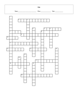 20 Question Life: Fish Crossword with Key