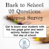 20 Question Student Interest Survey