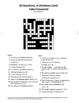 20 Questions,A Christmas Carol,Fake Crossword,Charles Dickens,Christmas Puzzle