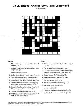 20 Questions,Animal Farm,Fake Crossword,George Orwell