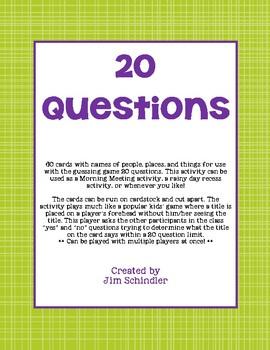 20 Questions Card Set