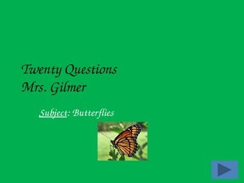 20 Questions Game: Life Cycle of Butterfly