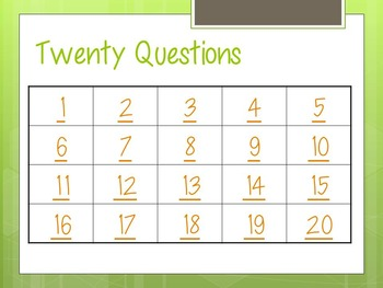 20 Questions Review Game *Fully Editable*