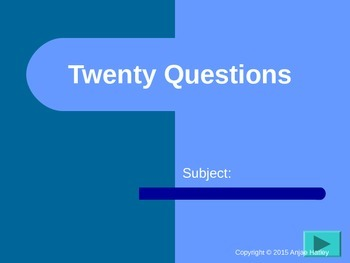 20 Questions Review Game Template