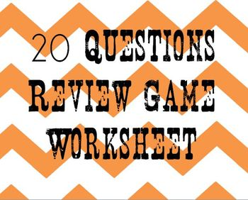 20 Questions!  Review Game sheet