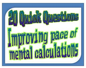 20 Quick Questions No. 10 -   Change from $20