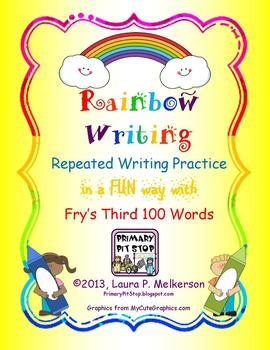 "20 ""Rainbow Writing"" Practice Pages for Fry's THIRD 100 Sight Words"